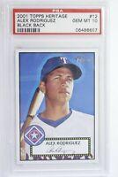 2001 Topps Heritage Black Back Alex Rodriguez #12 PSA 10 Gem Mint Pop 11
