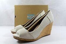 TOMS Stella Wedge Natural Yarn Dye Beige Off-White Size 12 NEW IN BOX NIB $79