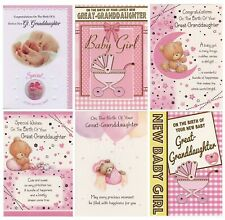 CONGRATULATIONS ON THE BIRTH OF YOUR  GREAT GRANDDAUGHTER NEW BIRTH CARD 1ST P&P