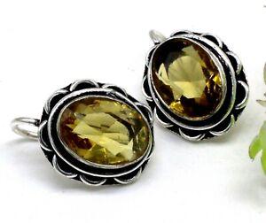 "Handmade 925 Sterling Silver Yellow Citrine Gemstone Jewelry Earrings Size-1.20"""