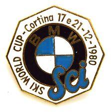 Spilla Con Smalti BMW-Sci Ski World Cup Cortina 1980 (Labor Milano) cm 3,5 x 3,5