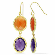 Amour 18k Yellow Gold-plated Silver Amethyst and Carnelian Dangle Earrings
