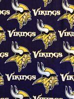 """Minnesota Vikings Mascot 100% Cotton Fabric - Sold By 1/2 Yard 18"""" x 58"""""""