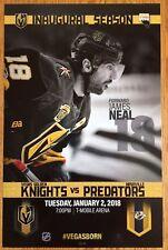 Vegas Golden Knights vs Nashville Predators 1/2/18 Inaugural Poster James Neal