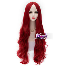 80CM Wine Red Long Curly Hair for Poison Ivy Lolita Anime Party Cosplay Wig +Cap