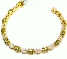 9.17CT 14K Gold Natural Stone White Diamond Vintage Engagement Tennis Bracelet