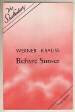 "Werner Krauss & Peggy Ashcroft ""Before Sunset"" London Playbill 1933"