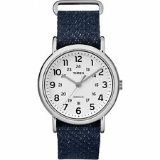 "Timex TW2R10600, ""Weekender"" Navy Blue Fabric Watch, Indiglo, TW2R106009J"