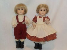 """A Pair Of 10"""" Beautiful Artist Made Reproduction Bisque Dolls"""