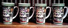 SET OF 4 COFFEE CUPS-SPRINGTIME THEME-VERY FRESH & COLORFUL SPRING THEME