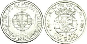 elf Angola Portuguese  20 Escudos 1955  Silver