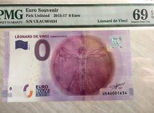 PMG69 2016 Zero (0) Euro Europe Souvenir Note Lenonard De Vinci Homme De Vitruve