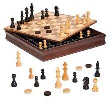 Contenitore e Scacchiera in legno pregiato da 36cm scacchi Dama Tria dal Negro