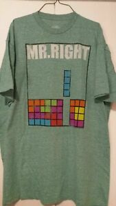 Tetris Mr. Right Tee Shirt Green Nintendo Game Play Medium and XLarge NEW