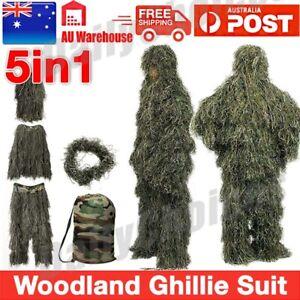 5pcs Gillie Ghillie Suit Woodland Camouflage Camo Pants Jacket Hood Rifle Trim