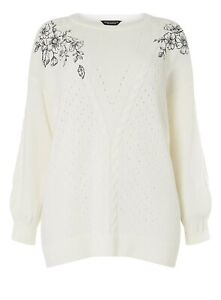 Ex DOROTHY PERKINS Ivory Embroidered Cable Knit Jumper  UK 18   EUR 46 (fs70-14)