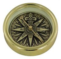English Pocket Watches Compass with Anchor Engraving and Chain Brass G4287