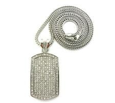 """NEW HIP HOP ICED OUT DOG TAG PIECE & 36"""" 4mm FRANCO CHAIN."""