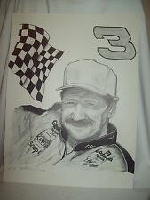 Dale Earnhardt Sr Pencil Sketch copy Print  Size 18x24 signed unframed picture