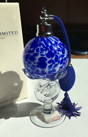 New In Box ROYAL LIMITED Blue Round Crystal Atomizer Perfume Bottle VTG