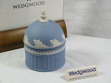 "Delightful Wedgwood Blue Jasper Ware "" Acorn "" Box with Wave pattern & Acorn Top"