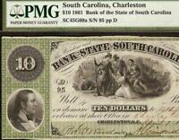 1861 $10 LOW SN 95 SOUTH CAROLINA BANK NOTE LARGE CURRENCY PAPER MONEY PMG 55