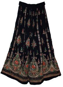 Rayon Skirt Indian Gypsy Retro Women Ehs Vintage Look Kjol Boho Jupe Hippy Falda