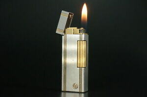 Dunhill Rollagas Lighter  Silver & Gold plated Working #A55