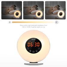 LED Natural Wake-Up Light Sunrise Simulation Alarm Clock FM Radio Night Lamp US