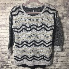 BKE Buckle Black Grey Gold Pullover Sweater Small Flowy Back