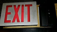 LITHONIA EXIT SIGN 120V EMERGENCY RED LED STEEL FRONT BACK UP BATTERY NEW