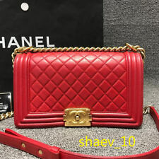 100%Authentic//Chanel//Medium//Boy//Lambskin//Leather//Gold//Hardware//Bag//Red
