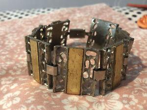 Armreif Armband Metall Silber Gold Vintage Breit Chunky Antik Aus Nachlass