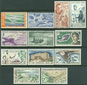 EDW1949SELL : FR. WEST AFRICA 1947-58 All VF MNH collection of 11 Better Cat $85