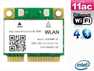 + Intel 8260 AC 7260 Dual Band 1200Mbit/s WLAN+Bluetooth 4.2 Mini PCIe +