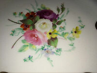 "Pair Antique English Hand Painted Plate 9.75"" Dinner Lunch Cabinet Plate Ornate"