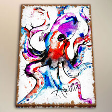 Modern Watercolor Painting Wall Art Room Decor HD Print Octopus on Canvas 24x32