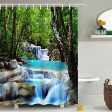 3D Waterfall Bathroom Shower Curtain Polyester Fabric 180*200cm with 12 Hooks US