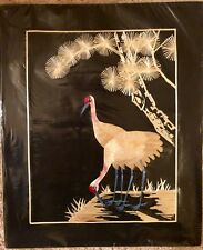 Vintage Art Birds Wheat Stalk on Silk Hand Cut - painted wall Art Asian picture