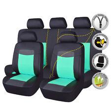 Universal Car PU Leather Seat Covers Set Black Fresh Green Ladies Cushions 11 PC
