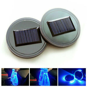 2 Pcs Solar Cup Pad Car Accessories LED Light Cover Interior Decoration Light