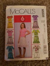 Girls McCalls Pattern M5038 size 7-8-10 Shrugs,TankTop & Skirts