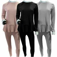Womens Ladies Fine Ribbed Frill Ruffle Peplum Loungewear Suit 2PCS Tracksuit Set