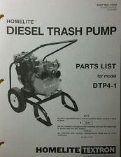 Homelite Dtp4 1 Diesel Trash Pump Parts Manual Pond Water Fire Suppress 4