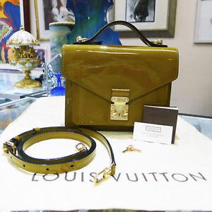 Authentic Louis Vuitton Monceau Vernis Leather Olive Green Shoulder bag Purse