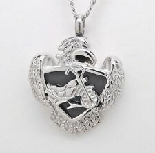 Cremation Jewelry, Motorcycle Urn Necklace with Harley Inspired Bike, Biker Urn
