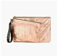 Victoria's Secret VS 2-PC SET ROSE GOLD LOGO CLUTCH SET-LIMITED EDITION NEW! NWT
