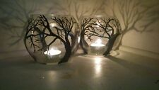Set of 2 Candles Holders black Tree in Clear Glass Vase Art Work Gift Light