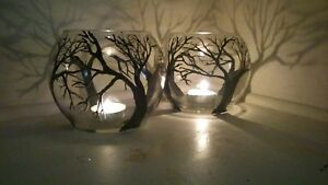 One Candles Holders black Tree in Clear Glass Vase Art Work Gift Light
