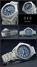 SPORTY MEN'S WATCH DIVER MODEL Q&Q STAINLESS STEEL TAG/DATE EASY TO READ BLUE